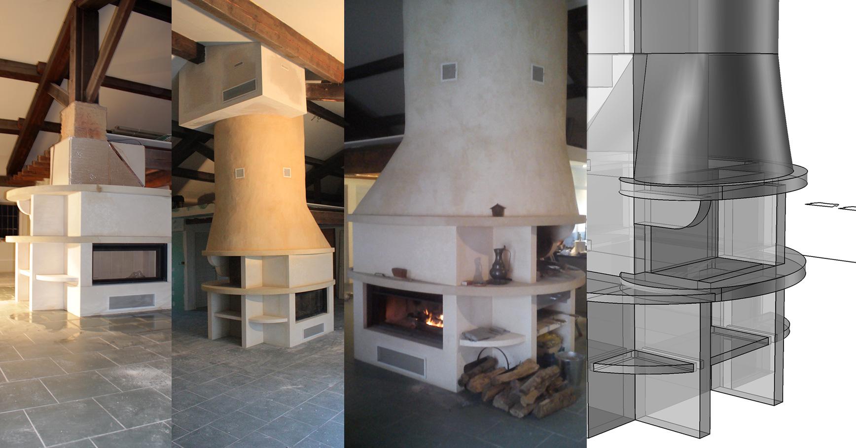 Création d'un ensemble cheminée et comptoir