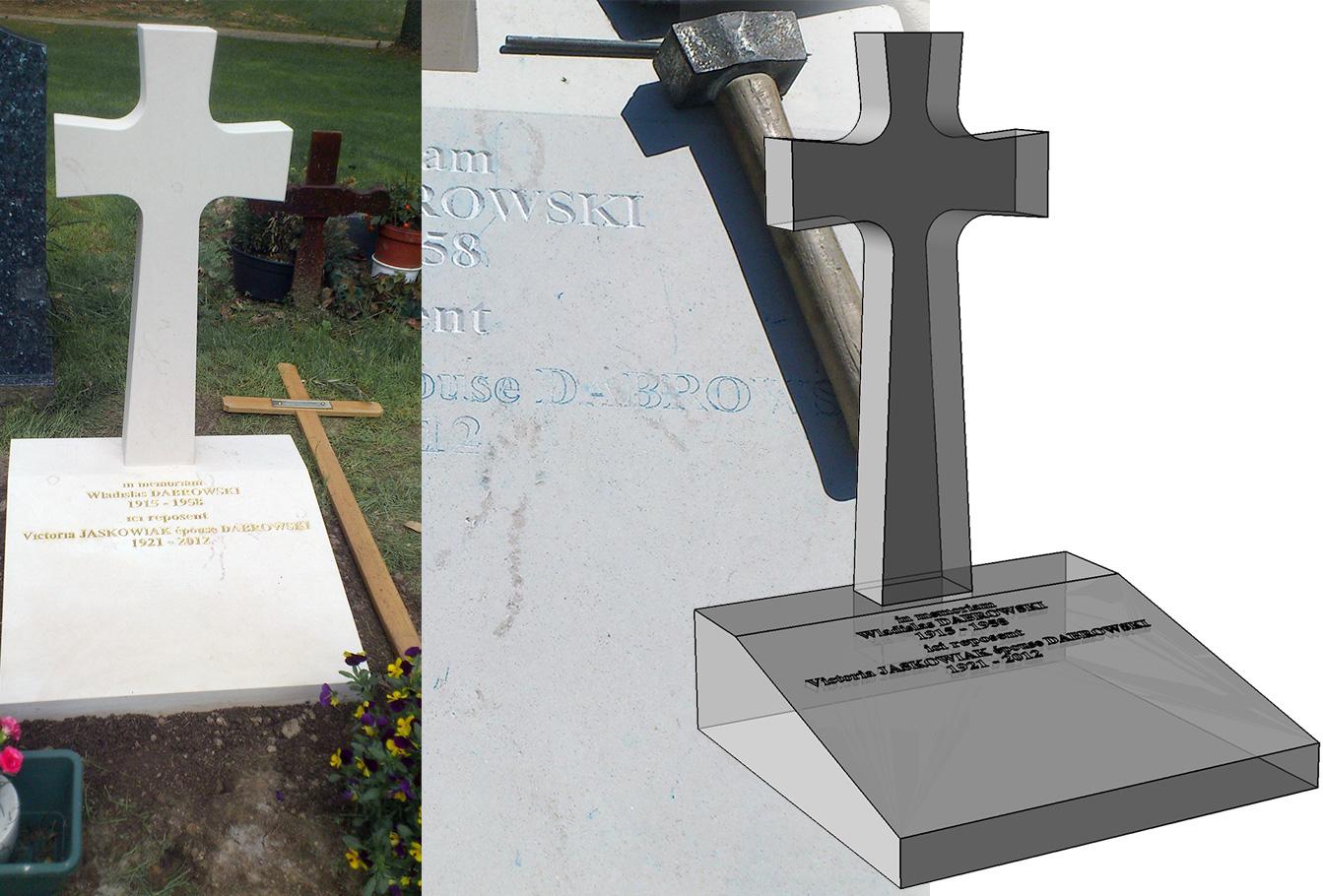 Monument funéraire, une croix d'inspiration polonaise