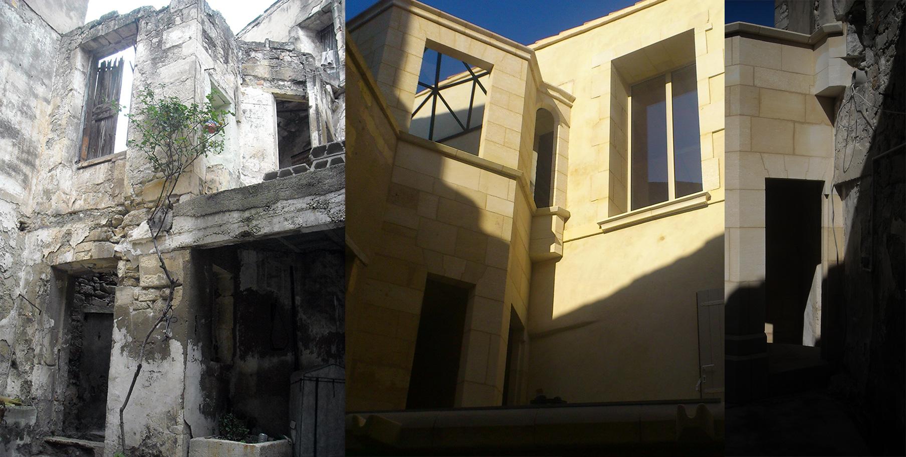 Rénovation d'une façade dans une cour intérieure