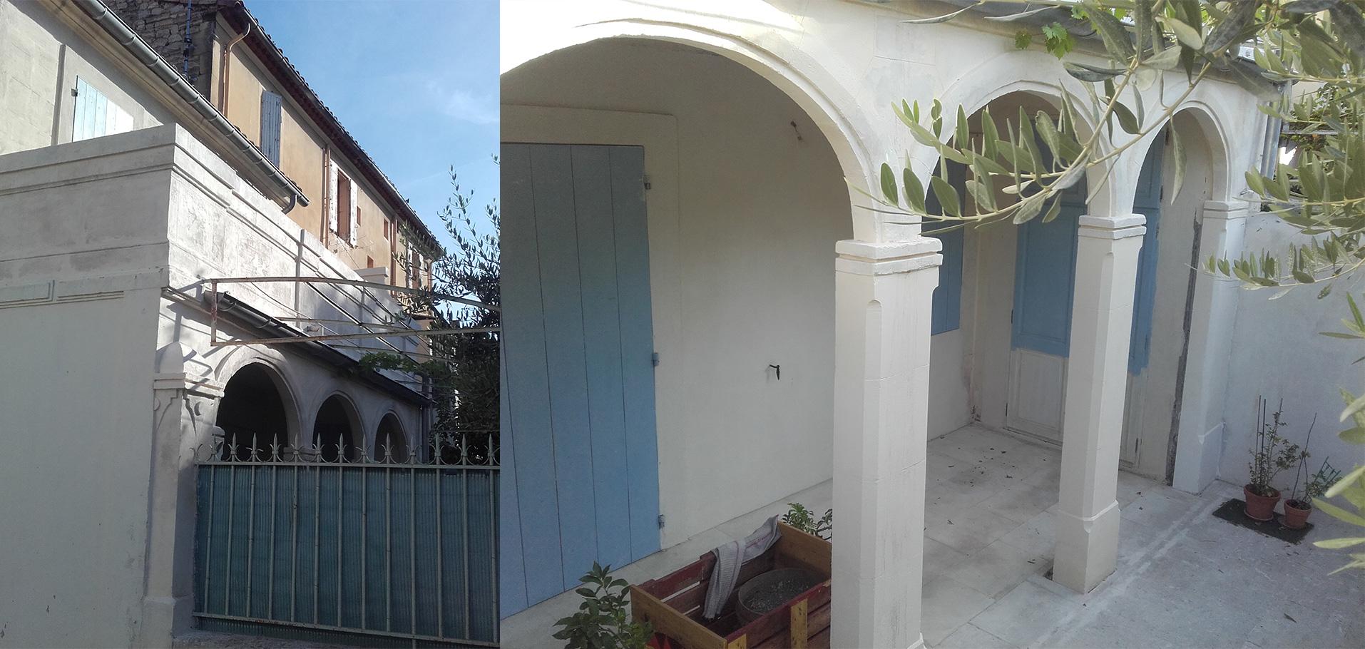 Restauration de 3 arcs en anses de panier et des pierres de couronnement de la terrasse